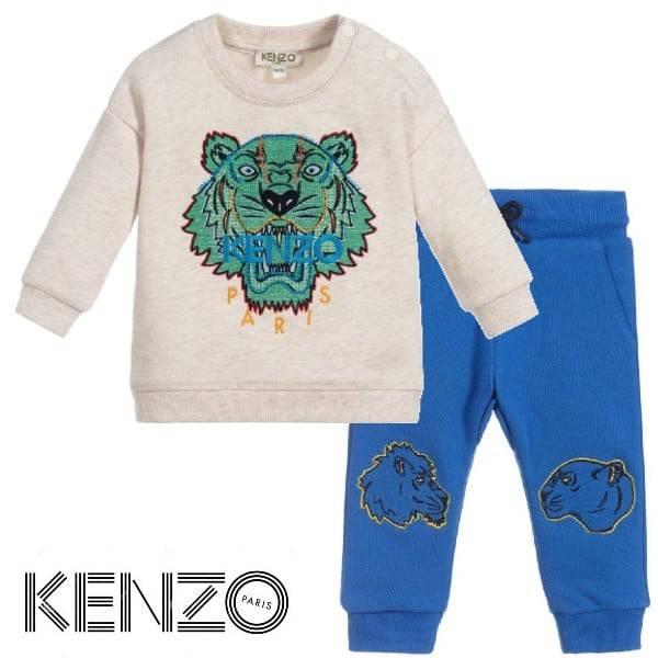 Kenzo Baby Beige Cotton Tiger Sweatshirt Blue Tiger Friends Knee Patch Joggers