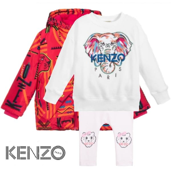 Kenzo Baby Girl Colorful Pink Elephant Lima Logo Print Jacket Elephant Logo Sweatshirt