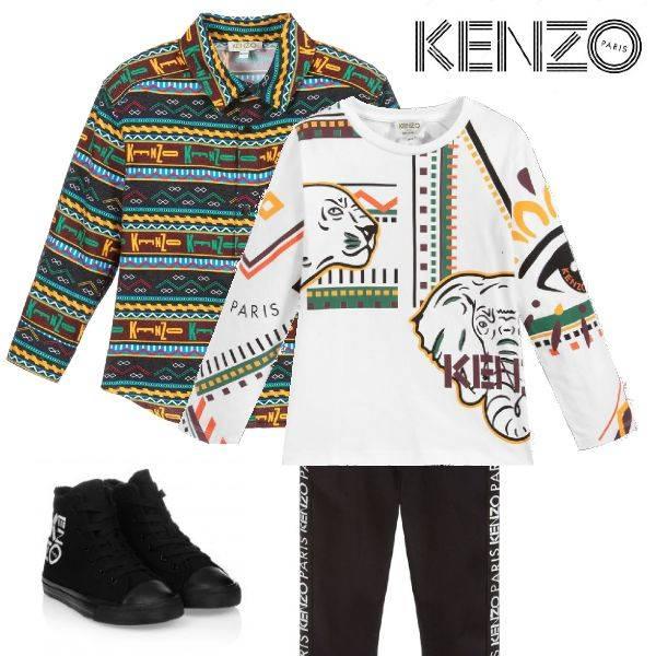 Kenzo Boys Multicolor Lima Ethnic Logo Print Button Down Shirt White Elephant Logo Shirt