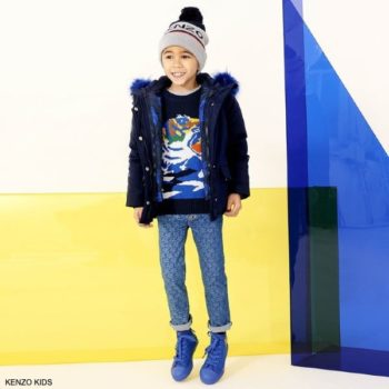 Kenzo Kids Boys Navy Blue Knitted Tiger Sweater Blue Tiger Logo Pants