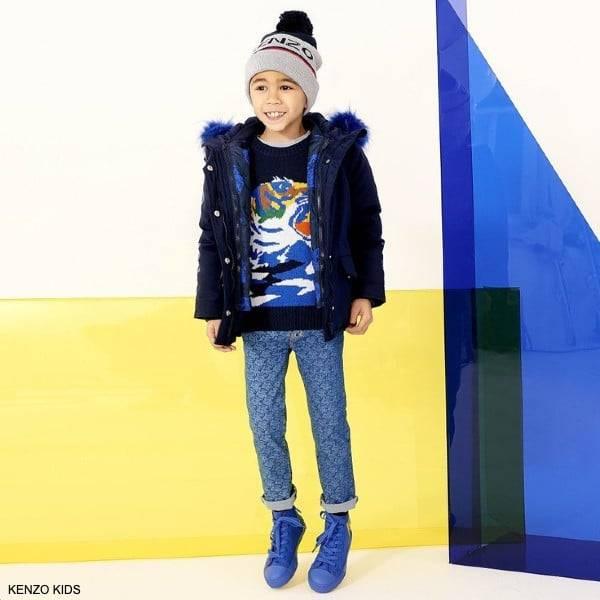 Kenzo Kids Boys Navy Blue Knitted Tiger Sweater Blue Tiger Logo Pants