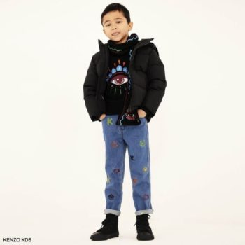 Kenzo Kids Boys Black Lima Eye Sweater Blue Tiger Logo Embroidered Jeans