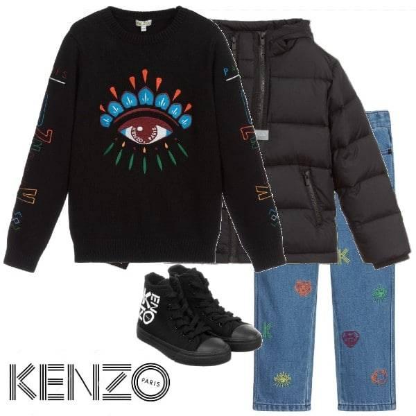 Kenzo Kids Boys Black Lima Eye Sweater Blue Tiger Logo Embroidered Jeans Black Puffer Jacket