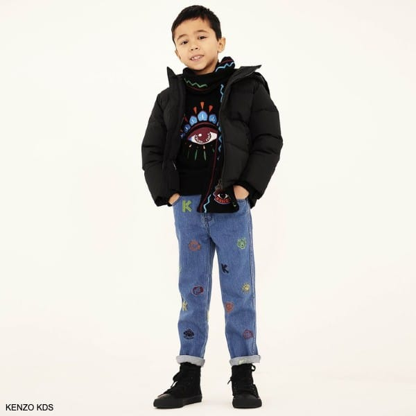 Kenzo Kids Boys Black Lima Eye Sweater Blue Tiger Logo Embroidered Jeans