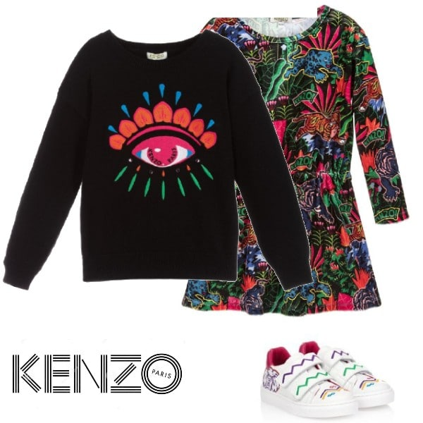Kenzo Kids Girl Black Cotton Knitted Lima Eye Embroidered Sweater Jungle Print Dress