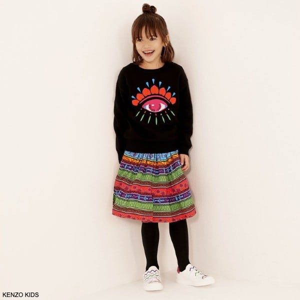Kenzo Kids Girl Black Cotton Knitted Lima Eye Embroidered Sweater