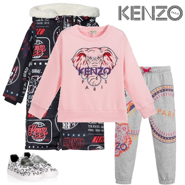 Kenzo Kids Girls Pink Elephant Logo Sweatshirt Long Black Print Coat Grey Pants