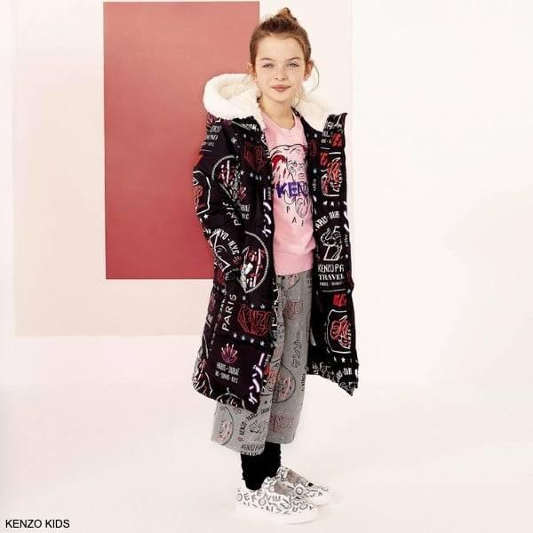 Kenzo Kids Girls Pink Elephant Logo Sweatshirt Long Black Print Coat