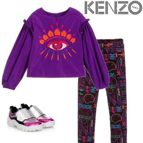 Kenzo Kids Girls Purple Vegas Eye Logo Taffeta Blouse Velvet Print Pants Metallic Pink Shoes