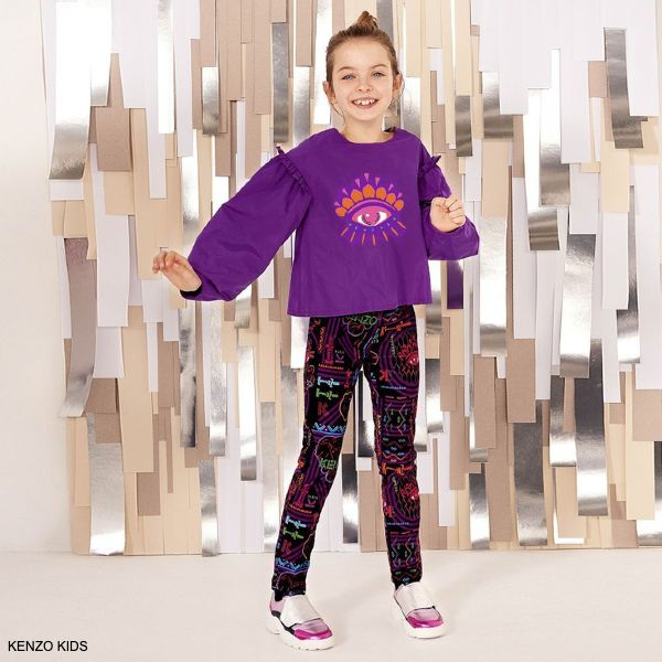 Kenzo Kids Girls Purple Vegas Eye Logo Taffeta Blouse Velvet Print Pants