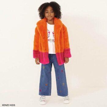 Kenzo Kids Girls Orange Pink Lima Fur Coat Blue Tiger Embroidered Flare Jeans