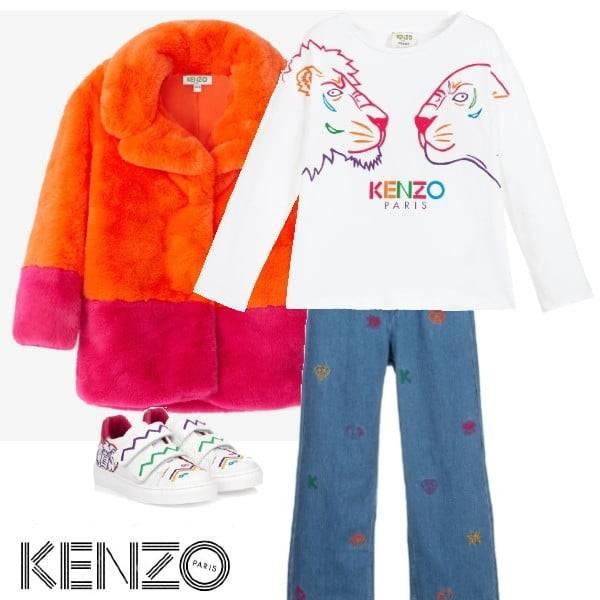 Kenzo Kids Orange Pink Lima Fur Coat Blue Tiger Embroidered Flare Jeans White Logo Shirt