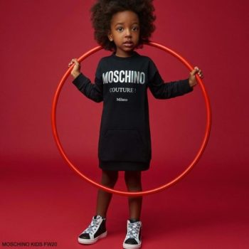 Moschino Kids Baby Girls Black Mini Me Couture Logo Sweatshirt Dress