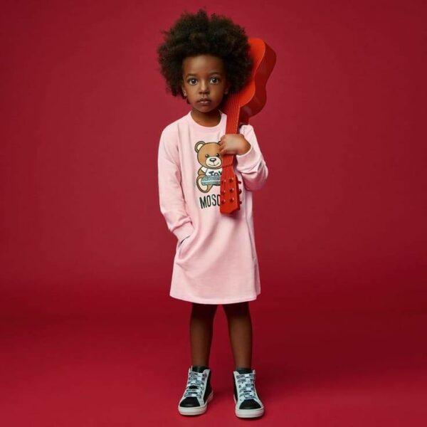 Moschino Kids Baby Girl Pink Teddy Bear Game Console Sweatshirt Dress