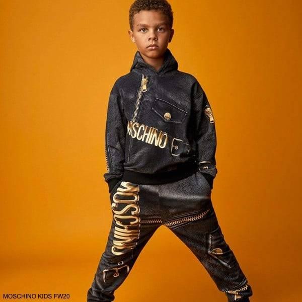 Moschino Kids Boys Black Gold Zipped Leather Logo Hooded Sweatshirt Jogger Pants