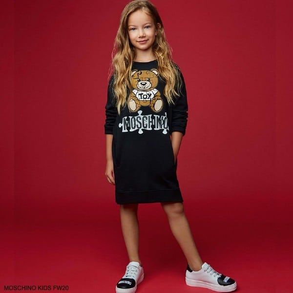 Moschino Kids Girls Black Puzzle Teddy Bear Toy Sweatshirt Dress