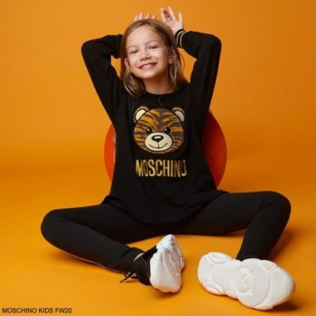 Moschino Kids Girls Black Teddy Bear Tiger Pattern Embroidery Logo Tracksuit