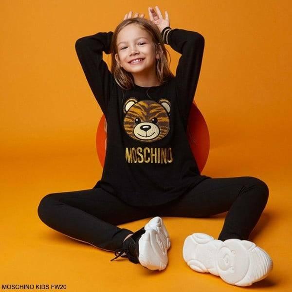Moschino Kids Girls Black Teddy Bear Tiger Pattern Embroidery Logo Tracksuit