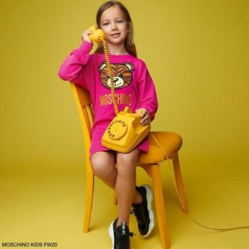 Moschino Kids Girls Fuchsia Pink Teddy Bear Tiger Print Logo Sweatshirt Dress