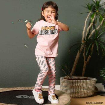 Moschino Kids Girls Pink Teddy Bear Logo T-Shirt Leggings