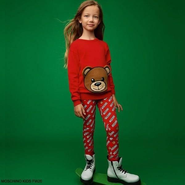 Moschino Kids Girls Red Teddy Bear Sweatshirt Red Logo Print Leggings