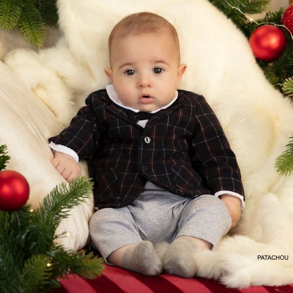 Patachou Baby Boys Navy Blue Red Grey Tartan Tuxedo Suit Bowtie