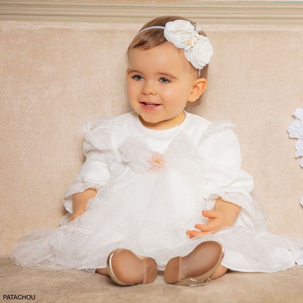 Patachou Baby Girl White Tulle Bow & Lace Special Occasion Dress