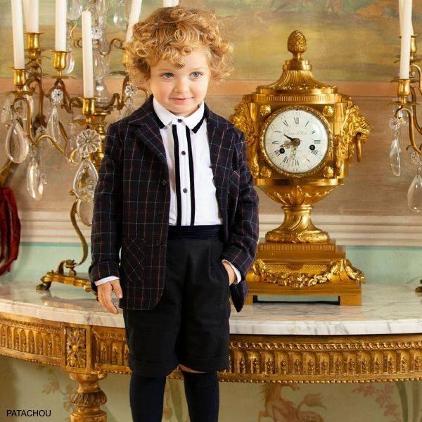 Patachou Boy White Navy Blue Shirt Velvet Shorts Check Blazer Jacket