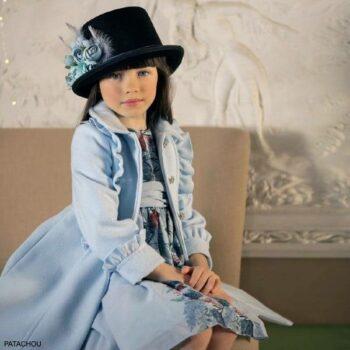 Patachou Girls Pale Blue Coat Floral Chiffon Party Dress