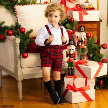 Patachou Kids Boys Classic Red Tartan Shorts & White Shirt Set