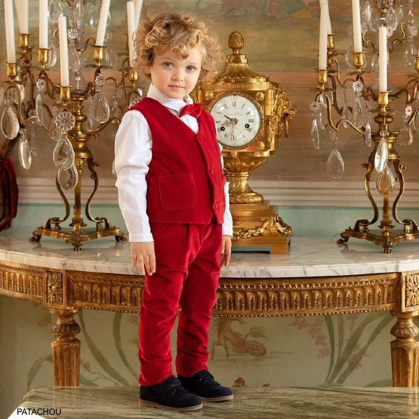 Patachou Kids Boys Three Piece Red Velvet Special Occasion Suit