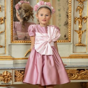 Patachou Kids Girls Pink Satin Bow Special Occasion Dress