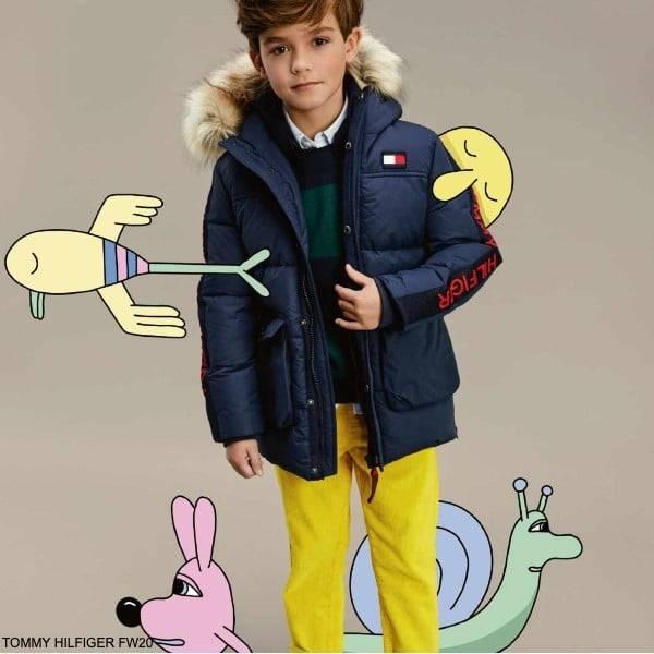 Tommy Hilfiger Kids Boys Navy Blue Down Puffer Faux Fur Hooded Jacket