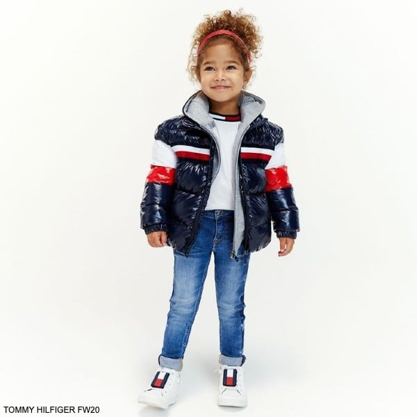 Tommy Hilfiger Kids Girl Blue Red White Logo Puffer Jacket White Leather Sneakers