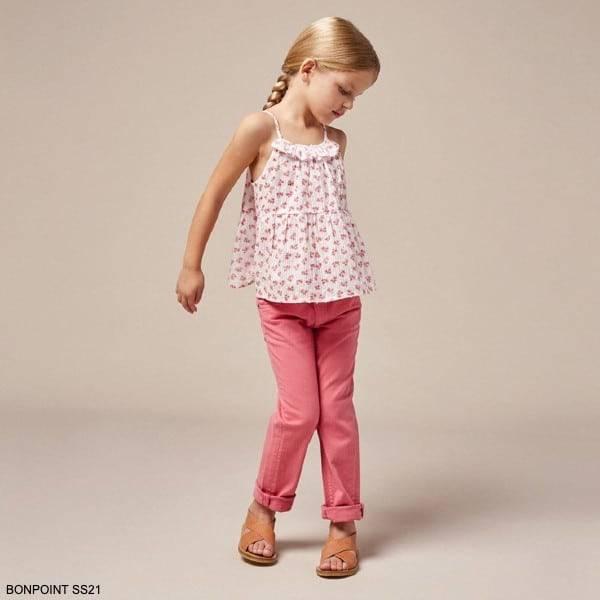 Bonpoint Girls White & Pink Sleeveless Floral Swiss Dot Blouse Pink Pants