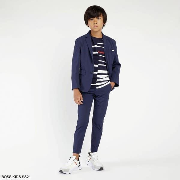 Boss Kids Boys Navy Blue Lightweight Twill Slim Fit Blazer Jacket Pants Suit