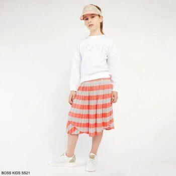 Boss Kids Girls White Logo Sweatshirt Orange Beige Mini Me Stripe Skirt