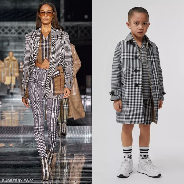 Burberry Kids Boys Mini Me Black White Reversible Beige Vintage Check Coat