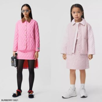 Burberry Kids Girls Mini Me Pink Diamond Quilted Monogram Jacket Skirt