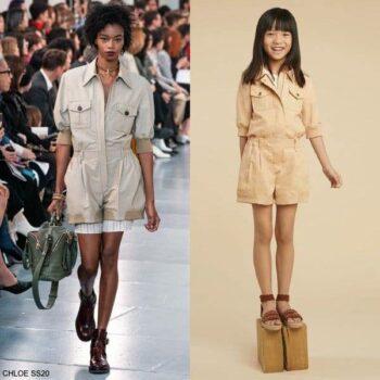 Chloe Girls Mini Me Beige Waisted Short Jumpsuit