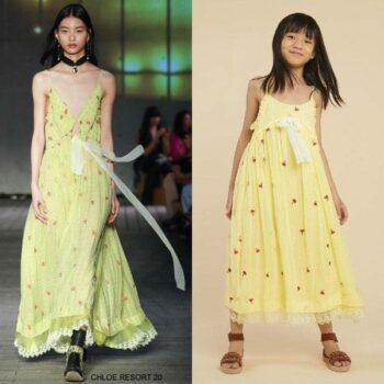 Chloe Girls Mini Me Yellow Red Poppies Silk Chiffon Maxi Special Occasion Dress