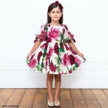 David Charles Girls Pink Green & Ivory Floral Print Puff Sleeve Satin Dress