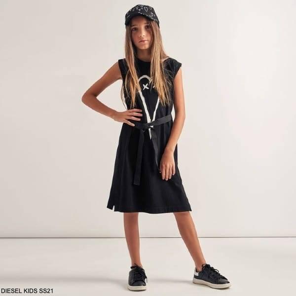 Diesel Kids Girls Sleeveless Black White Heart Print Black Cotton Jersey Dress