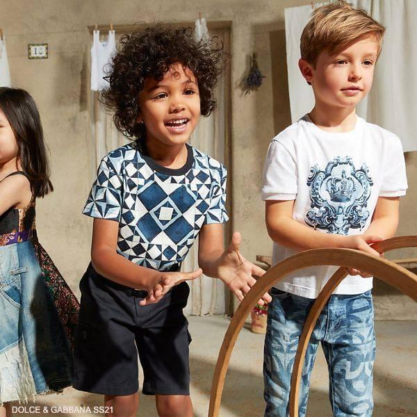 Dolce Gabbana Boys Mini Me Blue White Majolica Parco Dei Principi T-Shirt