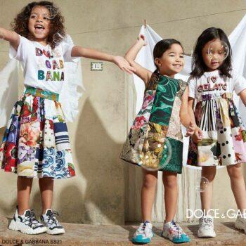 Dolce Gabbana Girls Mini Me Multi-Color Patchwork Party Dress