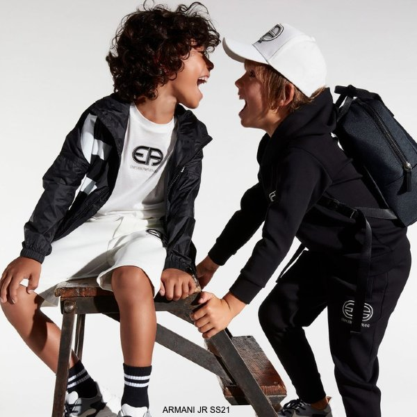 Emporio Armani Boys Black White EA Logo Windbreaker Jacket