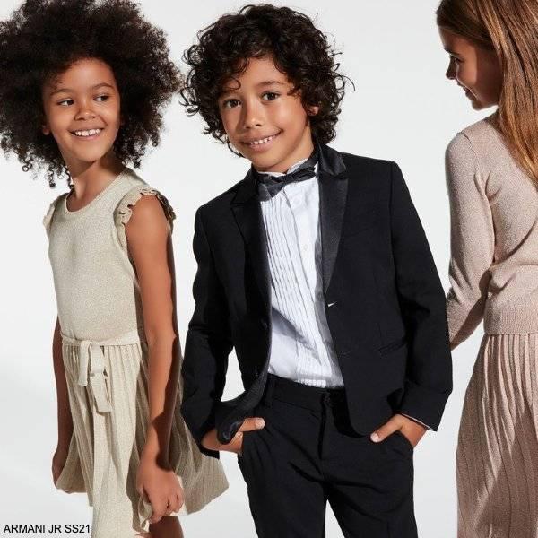 Emporio Armani Boys Black Wool Tuxedo Girls Gold Lurex Dress