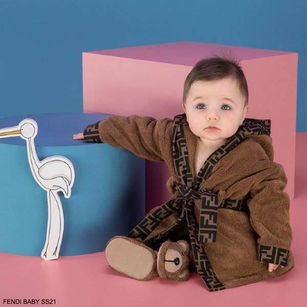 Fendi Baby Brown Teddy Bear FF Logo Hooded Towel Bathrobe