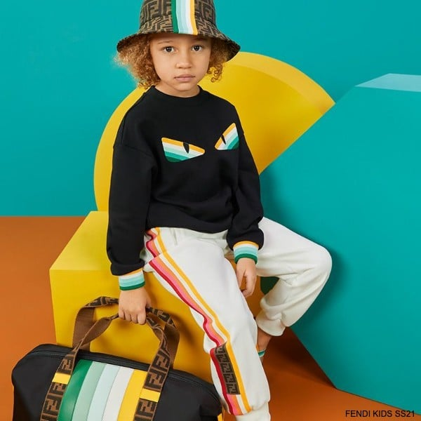 Fendi Kids Black Striped Bag Bug Eyes Logo Sweatshirt Pants