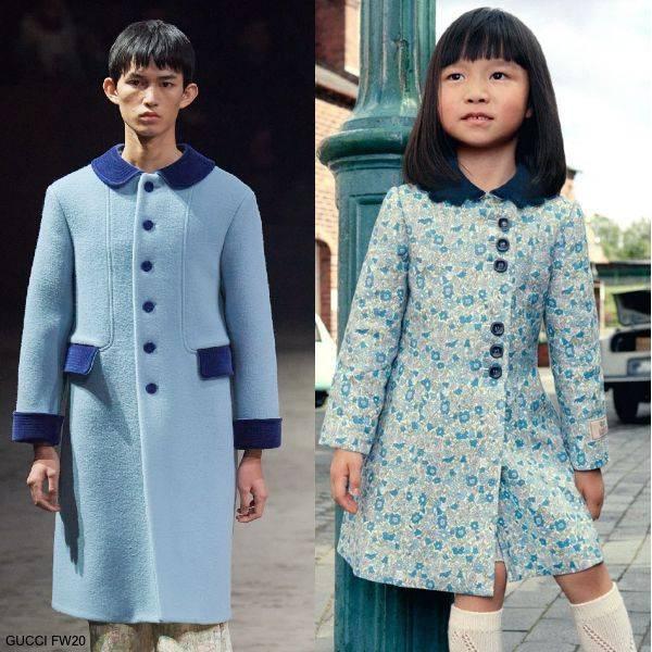 Gucci Kids Girls Mini Me Blue Floral Liberty Print Linen Velvet Collar Coat